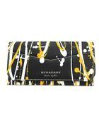 バーバリー BURBERRY 長財布 二つ折り ペイント イタリア製 黒 黄色 ブラック イエロー /KH ■OH