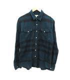 バーバリー BURBERRY 子供服 シャツ 長袖 チェック 14Y 158cm 164cm 緑 黒 グリーン ブラック /KH