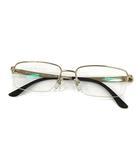 ブルガリ BVLGARI 眼鏡 伊達メガネ チタンフレーム ハーフリム 54□17 145 ゴールド 黒 1083D /YM ■OH