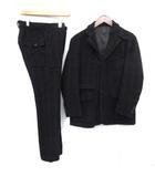 XS スーツ セットアップ 上下 ジャケット テーラード パンツ スラックス チェック カシミヤ混 3B 紺 ネイビー /EK