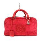 ロエベ LOEWE ボストンバッグ ハンド アマソナ28 スウェード 刺繍 赤 レッド /KH ■OH