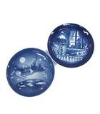 ロイヤルコペンハーゲン ROYAL COPENHAGEN イヤープレート 2001 キッチン 食器 皿 2枚セット 青 ブルー 白 /YM
