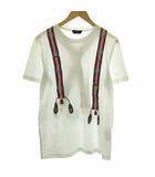 フェンディ FENDI Tシャツ カットソー 半袖 サスペンダー柄 ズッカ プリント イタリア製 50 L 白 ホワイト /KH