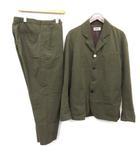 M セットアップ 上下 スーツ テーラードジャケット パンツ シルク混 シアサッカー カーキ /EK