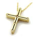 ネックレス ペンダント クロス 十字架 ダイヤ Dサイド K18YG 750 イエローゴールド /YT