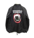 アンダーカバー UNDERCOVER 17SS コーチジャケット DANGEROUS ELEMENTS プリント ロゴ L 黒 ブラック /KH