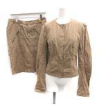 クリスチャンディオール Christian Dior F38 M セットアップ 上下 スーツ ジャケット ノーカラー スカート ひざ丈 ベージュ /EK