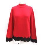 クリスチャンディオール Christian Dior ヴィンテージ 80'S 90'S M セーター ニット ハイネック レース ウール 赤 レッド 黒 ブラック /EK
