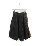 2014年製 スカート ひざ丈 フレア ステッチ レザー 黒 茶 /MF19 ●D