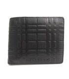 財布 二つ折り レザー チェック 型押し 黒 ブラック /EK ■OH