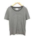 16AW Tシャツ カットソー ボーダー 半袖 M 黒 ブラック 白 グレー /YM