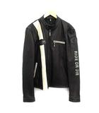 ジューシークチュール JUICY COUTURE ライダース ジャケット シングル ジップアップ レザー L 黒 ブラック /KH