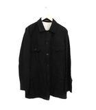 ヨウジヤマモトプールオム YOHJI YAMAMOTO POUR HOMME 16AW シャツジャケット バックステッチ 刺繍 リネン混 2 M 黒 ブラック /KH