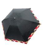ブルーレーベルクレストブリッジ BLUE LABEL CRESTBRIDGE 折り畳み傘 日傘 アンブレラ チェック 晴雨兼用 黒 ブラック 赤 /YM