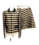 ランバン LANVIN コレクション COLLECTION セットアップ 上下 スカート コーチジャケット フレア ひざ丈 ボーダー 切替 38 M ゴールド 黒 ブラック /ST