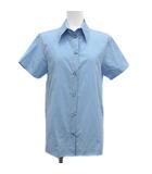 ヌメロヴェントゥーノ N°21 20SS シャツ ブラウス 重ね着風 背中開き レイヤード風 星ボタン ビジュー 半袖 38 M 青 ブルー /YM