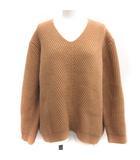 エブール ebure セーター ニット オーバーサイズ ワイドシルエット ローゲージ Vネック 長袖 茶 ブラウン /EK
