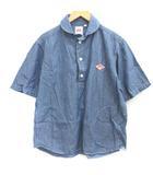 ダントン DANTON 40 L シャツ プルオーバー ラウンドカラー デニム 半袖 青 ブルー /EK