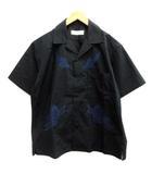 トーガ TOGA VIRILIS ビリリース 17SS 44 S シャツ オープンカラー 刺繍 半袖 黒 ブラック /EK