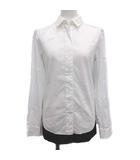 エムエムシックス MM6 メゾンマルジェラ シャツ ブラウス フェイクレイヤード 切替 長袖 比翼ボタン 36 S 白 ホワイト 黒 ブラック /YM