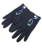 エルメス HERMES 手袋 グローブ シルク混 コットン混 総柄 7.5cm 黒 ブラック /PJ ■OH