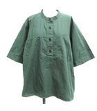 マーガレットハウエル MHL. 20SS 3 L COMPACT COTTON POPLIN ブラウス シャツ バンドカラー プルオーバー 半袖 緑 グリーン /EK
