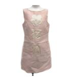 プラダ PRADA 2013年 ワンピース ひざ丈 ノースリーブ 花 フラワー イタリア製 シルク混 絹混 42 M ピンク /ST