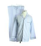 ブルックスブラザーズ BROOKS BROTHERS セットアップ 上下 ルームウェア ナイトウェア パジャマ ストライプ パンツ ロング シャツ 長袖 S 白 ホワイト 水色 /SR4
