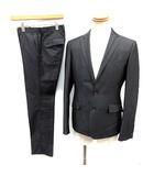 コムサメン COMME CA MEN パイピングスーツ シングル セットアップ 上下 テーラード ジャケット 2B センターベント パンツ M グレー /YM