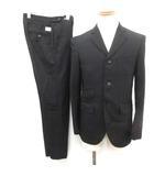 ダブルタップス WTAPS スーツ セットアップ 上下 テーラードジャケット 3B サイドベンツ 裏地刺繍 パンツ スラックス S 黒 ブラック /EK
