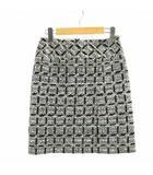 シャネル CHANEL スカート タイト ミニ チェック シルク混 ツイード ココマーク 36 S 黒 ブラック 白 ホワイト /NM