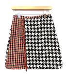 チェスティ Chesty ラップ スカート ミニ チェック ウール混 1 S 黒 白 マルチカラー /☆G