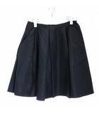 プラダ PRADA フレアスカート ひざ丈 シルク タック 38 M 黒 ブラック /YI20