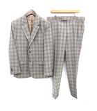 2013 スーツ ハウンドトゥース セットアップ 2B ジャケット パンツ 50 L 黒 ブラック 白 ホワイト /☆G