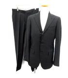 ビームス BEAMS Sartello スーツ セットアップ 上下 ジャケット パンツ ストライプ 46 黒 ブラック /EK ■KRB