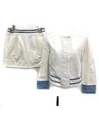 シーバイクロエ SEE BY CHLOE セットアップ ジャケット スカート 白 水色 I 38 /☆Q11