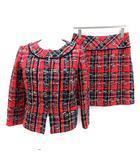 ハロッズ Harrods スーツ セットアップ 上下 ジャケット スカート ツイード 2 赤 レッド /KH