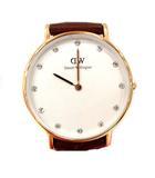 ダニエルウェリントン DANIEL WELLINGTON 腕時計 スワロフスキー クォーツ ゴールド ブラウン /☆Q30