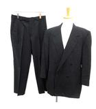 ヴェルサーチクラシック ヴェルサーチェ VERSACE CLASSIC ダブル スーツ セットアップ 上下 ストライプ ジャケット パンツ 黒 /YM