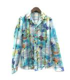 グッチ GUCCI シャツ 長袖 ストライプ 花柄 40 水色 ブルー マルチカラー /TK ■KRA