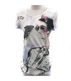 シャネル CHANEL Tシャツ カットソー プリント ココマーク 半袖 36 白 紫 10C /EK