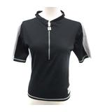 シャネル CHANEL Tシャツ ハーフジップ ライン ココマーク 半袖 40 黒 04P /EK ●D