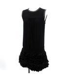ジャンバティスタヴァリ GIAMBATTiSTA VALLi ワンピース ドレス ひざ丈 ノースリーブ フリル XS 黒 /YM