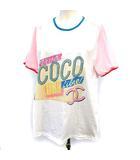 シャネル CHANEL 17SS Tシャツ 半袖 ココ キューバ  パステルカラー L 白 ピンク 青  /☆G