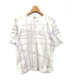 エルメス HERMES Tシャツ ボルデュック リボン柄 半袖 カットソー M 白 パープル 紫 /☆G