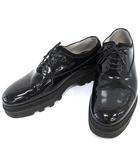 フットザコーチャー foot the coacher レザーシューズ ラバーソール エナメル 7.5 黒   /☆G