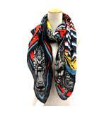 ディースクエアード DSQUARED2 ストール スカーフ 総柄 黒 ブラック 赤 レッド /EK