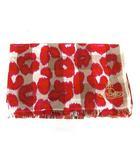 ヴィヴィアンウエストウッド Vivienne Westwood ストール チェック 総柄 オーブ 刺繍 ベージュ 赤 ピンク /YM ●D