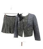 ポールカ PAULE KA スーツ セットアップ 上下 ジャケット スカート ツイード 36 紺 黒 ネイビー ブラック /KH