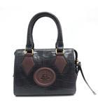 ヴィヴィアンウエストウッド Vivienne Westwood ハンドバッグ オーブ レザー 型押し 紺 ネイビー 茶 /TK ●D